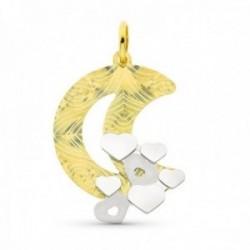 Colgante oro bicolor 18k mujer forma luna detalles combinada corazónes lisos