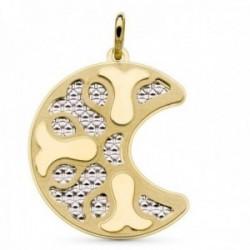 Colgante oro bicolor 18k mujer forma luna detalles combinados