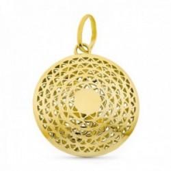 Colgante oro 18k mujer 28 mm. círculo calado