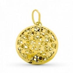 Colgante oro 18k mujer 27 mm. círculo formas caladas