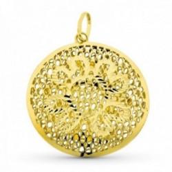 Colgante oro 18k mujer 38 mm. círculo calado forma flor centro