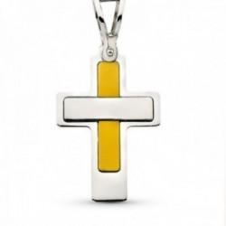 Cruz colgante oro bicolor 18k mujer 22 mm. lisa asa calada
