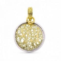 Colgante oro bicolor 18k mujer 20 mm. calado formas abstractas