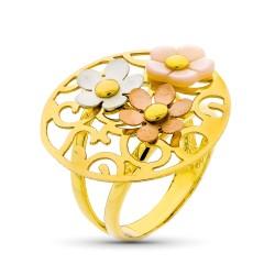 Sortija oro tricolor 18k mujer redonda calada formas combinada flores centro