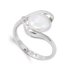 Sortija oro blanco 18k mujer formas combinadas perla centro 9 mm.