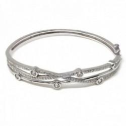 Brazalete pulsera plata Ley 925m mujer 54 mm. bandas combinadas circonitas lisa