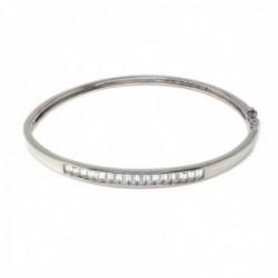 Brazalete pulsera plata Ley 925m mujer 71 mm. lisa combinada circonitas baguette