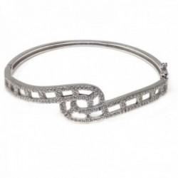Brazalete pulsera plata Ley 925m mujer 57 mm. formas combinadas caladas circonitas lisas