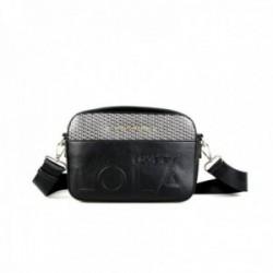 Bandolera Lola Casademunt bolso negro logotipado detalles LC parte frontal inscripción LOVE BY LOLA