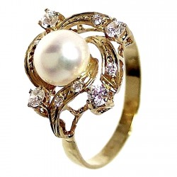 Sortija oro 18K perla cultivada y circonita Peso: 3,1gr. [151]