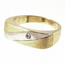 Sortija oro 18K circonita bicolor Peso: 5,0gr. [160]