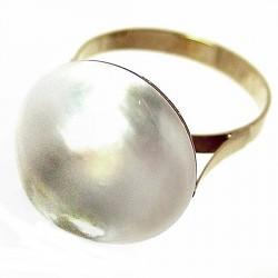 Sortija oro 18k perla japonesa Peso: 5,5gr. [186]