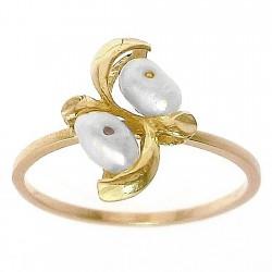 Sortija oro 18K 2 perlas blancas tuyyo Peso: 1,6gr. [197]