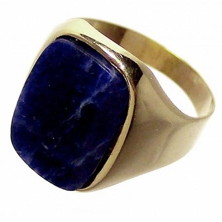 Sello oro 18K piedra azul. Peso: 2,9gr.. [242]