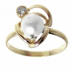 Sortija oro 18k perla cultivada y circón Peso: 1,2gr. [512]