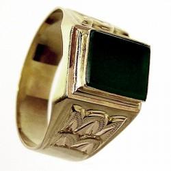 Sello oro 18k caballero piedra verde. Peso: 5,0gr.. [653]