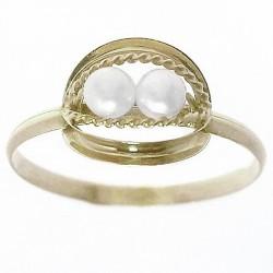Sortija oro 18k 2 perlas cultivadas Peso: 0,9gr. [668]