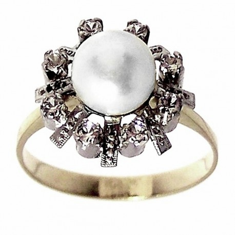 Sortija oro 18k perla cultivada bicolor circonita [669]
