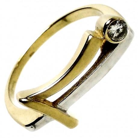 Sortija oro 18k bicolor circonita mate y brillo [334S]