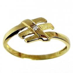 Sortija oro 18K con circonita. Peso para la talla 12: 1,6gr.. [485S]