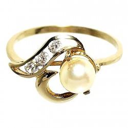 Sortija oro 18k perla cultivada circonita carré [523S]