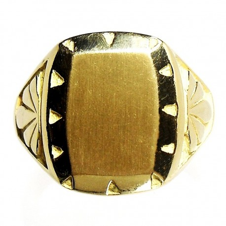 Sello oro 18k hombre forma tonel tallado [5150]