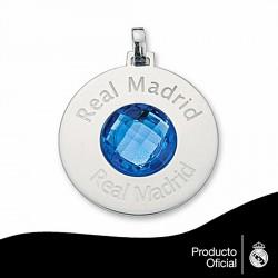 Colgante escudo Real Madrid Plata de ley redondo piedra color [6794]