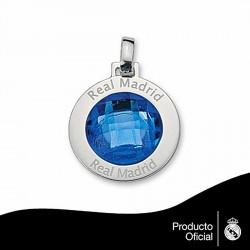 Colgante escudo Real Madrid Plata de ley piedra color pequeño [6797]