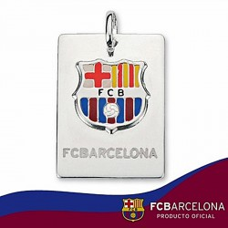 Chapa escudo F.C. Barcelona Plata de ley esmalte mediana [6897]