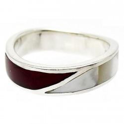 Sortija plata Ley 925m talla 20 serpenteante rojo blanco [832]