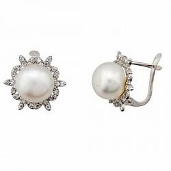 Pendientes oro blanco 18k perla cultivada 8mm. palillo catalán [7148]