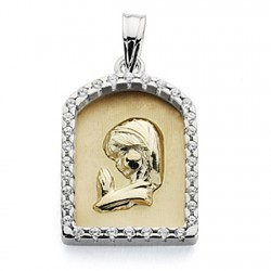 Medalla oro bicolor 9k Virgen Niña 21mm. capilla cerco circonita centro mate virgen brillo