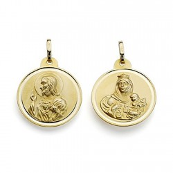 Medalla oro 9k escapulario 20 Virgen Carmen Corazón Jesús [7076]