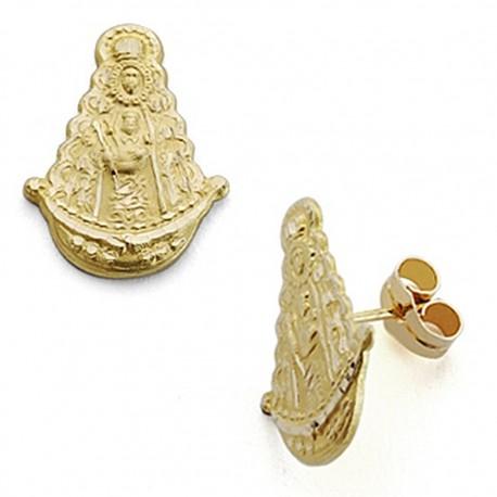 Pendientes oro 18k Virgen del Rocío silueta 17mm. presión [7087]