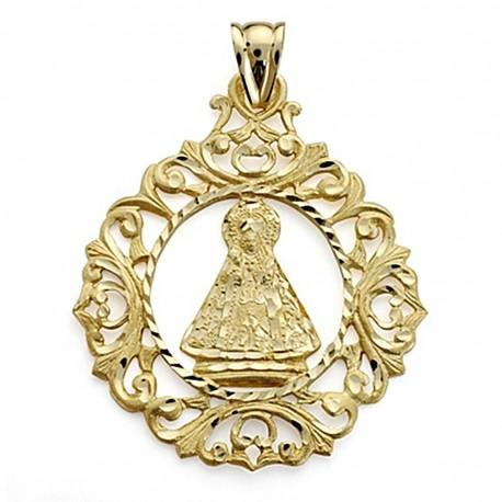 Colgante oro 18k Virgen de la Cabeza cerco calada 43mm. [7096]