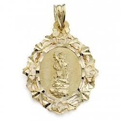 Colgante oro 18k Virgen del Saliente 29mm. oval cerco calado [7098]
