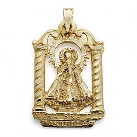 Colgante oro 18k Virgen Castellar palio silueta 27mm. [7099]