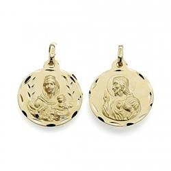 Medalla oro 18k escapulario 18mm Virgen Carmen Corazón Jesús [7103]