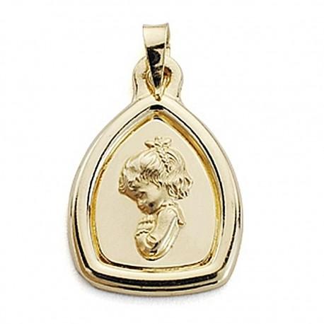 Medalla oro 18k Virgen Niña 24mm. filo liso [7104]