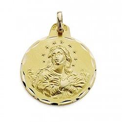 Medalla oro 18k Virgen de la Inmaculada 21mm. labrada [7105]