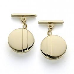 Gemelos oro 18k circulares 15mm. mate y brillo [7213]