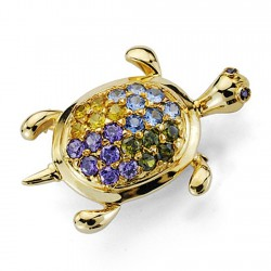 Alfiler oro 18k tortuga piedras color [7232]