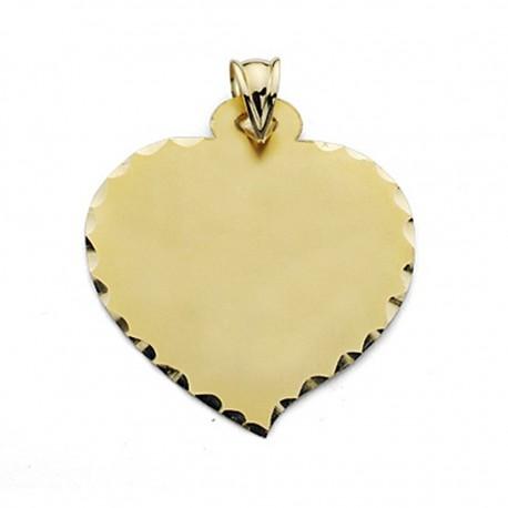 Colgante chapa oro 18k corazón grande liso [7243]