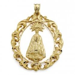 Colgante oro 18k Virgen de la Asunción 43mm. cerco calado [7244]