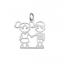 Colgante plata Ley 925m chica y chico 20x20mm [5048]