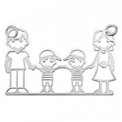 Colgante plata Ley 925m papá mamá 2 chicos [5062]