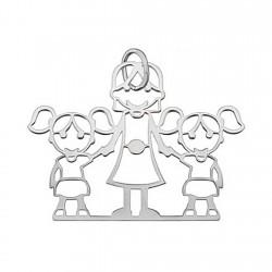 Colgante plata Ley 925m 2 chicas mamá [5064]