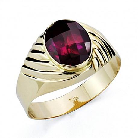 Sello oro 18k caballeropiedra roja oval hueco [7449]