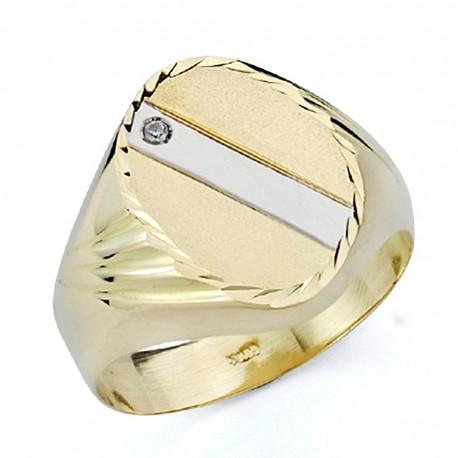 Sello oro bicolor 18k caballero hueco [7524]