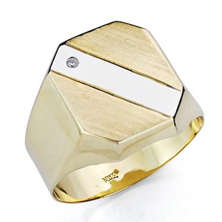 Sello oro bicolor 18k caballerobanda hueco [7525]